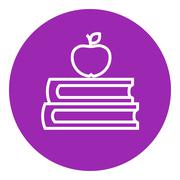 Books and apple on top line icon Stock Illustration
