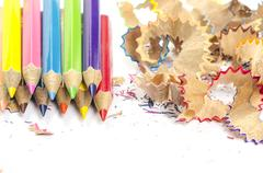 Color pencils and pencil shavings - stock photo