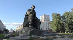 Monument of a famous writer, Minsk Stock Footage
