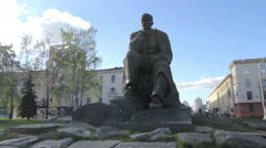 Monument of a great Belarus poet Stock Footage