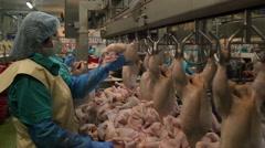 Minsk, Belarus, August 4, 2015: Poultry processing plant Stock Footage