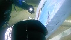 Underwater painter Yuriy Alekseev paints a picture under water - stock footage