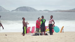 Fun in copacabana beach Stock Footage