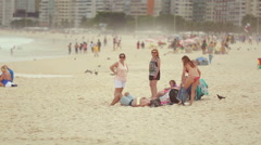 People on the beach in Rio Stock Footage