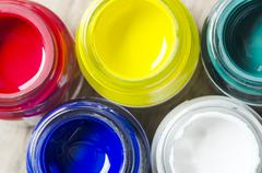 opened bottles of color - stock photo