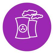 Nuclear power plant line icon - stock illustration
