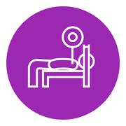 Man lying on bench and lifting barbell line icon Stock Illustration
