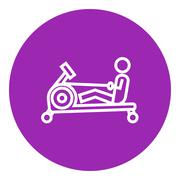 Man exercising with gym apparatus line icon - stock illustration