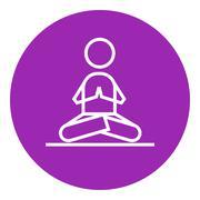 Man meditating in lotus pose line icon - stock illustration