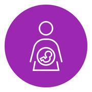 Baby fetus in mother womb line icon - stock illustration