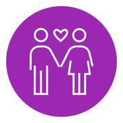 Couple in love line icon - stock illustration