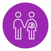 Husband with pregnant wife line icon Stock Illustration