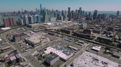 Aerial View Of Jersey City Viewing Downtown Manhattan Stock Footage