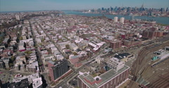 Short Flyover Of Jersey City Viewing Hoboken & NYC Skyline In Background Stock Footage