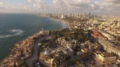 TEL AVIV/JAFFA, ISRAEL (4K)-stunning aerial above Old Yafo's Mediterranean coast Stock Footage