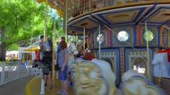 People on a merry go round Stock Footage