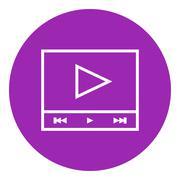 Video player line icon - stock illustration