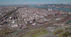 Aerial View Of Hoboken and Jersey City With NYC Skyline In Background - stock footage