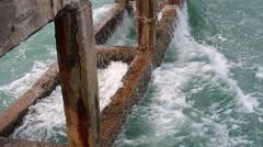 Old concrete pier Stock Footage