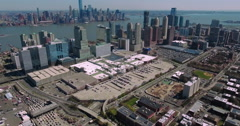 Stationary & Then Fly Backward View Of Jersey City and NYC Skyline In Background Stock Footage