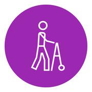 Man with walker line icon Stock Illustration