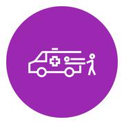 Man with patient and ambulance car line icon - stock illustration