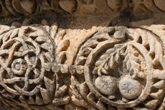 Detail of the ruins in the city of Capernaum in Galilee - stock photo