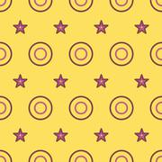 Seamless Colorful Pattern Created from Circles and stars - stock illustration