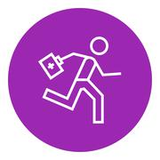 Paramedic running with first aid kit line icon Piirros