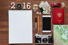 Travel background 2016 year. Different things you need for journey - smartpho - stock photo