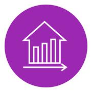 Graph of real estate prices growth line icon - stock illustration