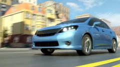 City abstract car view 3d Stock Illustration