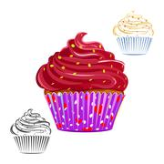 Chocolate swirl cupcake set - stock illustration