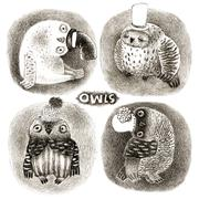 Four Pastel Owls in Funny Hats - stock illustration