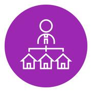 Stock Illustration of Real estate agent with three houses line icon
