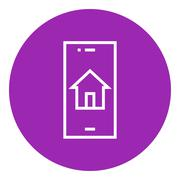 Property search on mobile device line icon Stock Illustration