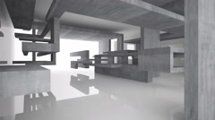 Abstract glossy white interior with concrete structure. 3D animation. 3D renderi Stock Footage
