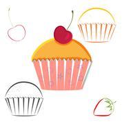 Cherry berry cupcake set Stock Illustration