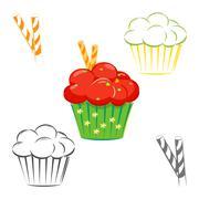 Red topping cupcake set - stock illustration
