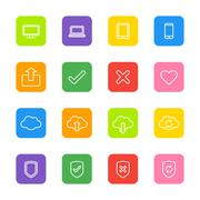 Line web icon set on colorful rounded rectangle Stock Illustration