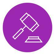 Auction gavel line icon - stock illustration