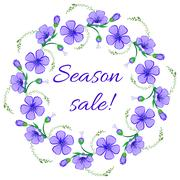 Floral frame, wreath design element. Season sale retro banner - stock illustration