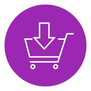 Online shopping cart line icon - stock illustration