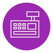 Cash register machine line icon - stock illustration