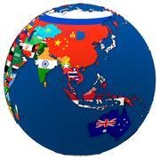 Political Asia and Australia map Stock Illustration