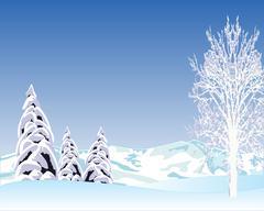Beautiful winter landscape - stock illustration