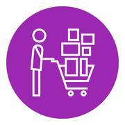 Man pushing shopping cart line icon Stock Illustration