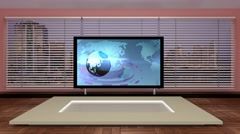 News TV Studio Set 149 - Virtual Green Screen Background Loop - stock footage