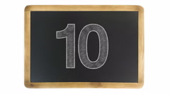 Countdown from 10 to 0 on a chalkboard - stock footage