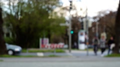 Unfocused blurred intersection Stock Footage